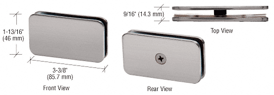 """CRL Brushed Nickel 180 Degree Junior Traditional Style Fixed Glass Clamp for 1/4"""" Glass CRL GCB680BN"""