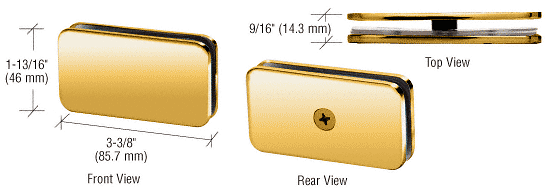"""CRL Polished Brass 180 Degree Junior Traditional Style Fixed Glass Clamp for 1/4"""" Glass CRL GCB680BR"""