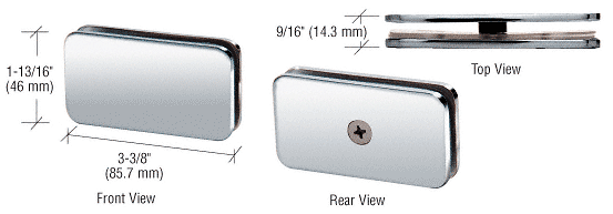 """CRL Polished Chrome 180 Degree Junior Traditional Style Fixed Glass-to-Glass Clamp for 1/4"""" Glass CRL GCB680CH"""