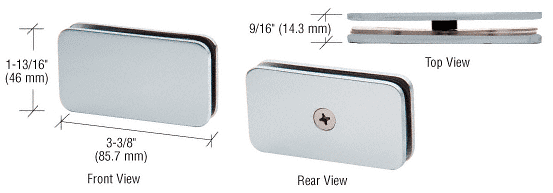 """CRL Satin Chrome 180 Degree Junior Traditional Style Fixed Glass Clamp for 1/4"""" Glass CRL GCB680SC"""