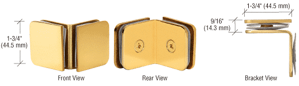 """CRL Brass 90 Degree Junior Traditional Style Glass Clamp for 1/4"""" Glass CRL GCB690BR"""