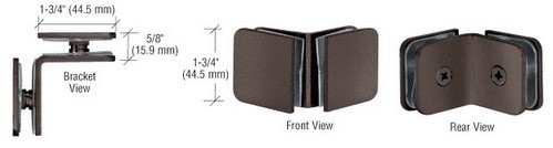 Oil Rubbed Bronze Traditional Style 90 Degree Glass-to-Glass Clamp - CRL GCB90ORB