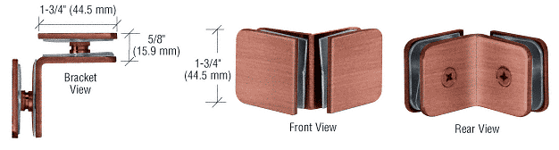 CRL Antique Brushed Copper 90 Degree Traditional Style Glass-to-Glass Clamp CRL GCB90ABC0