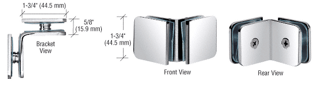 CRL Polished Stainless Steel 90 Degree Traditional Style Glass-to-Glass Clamp CRL GCB90PS