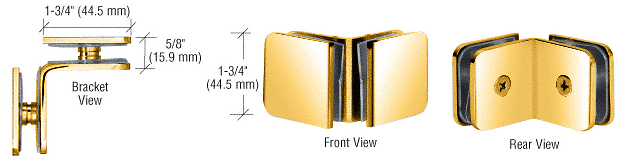 CRL Ultra Brass 90 Degree Traditional Style Glass-to-Glass Clamp CRL GCB90UBR