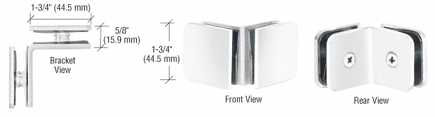 CRL White 90 Degree Traditional Style Glass-to-Glass Clamp CRL GCB90W