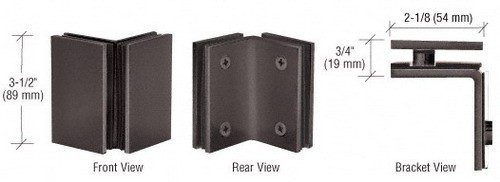 Oil Rubbed Bronze Geneva Series Glass-to-Glass Bracket - CRL GE090ORB