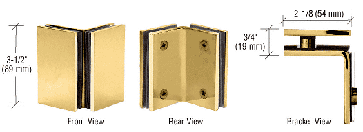 CRL Polished Brass Geneva Series Glass-to-Glass Bracket CRL GE090BR