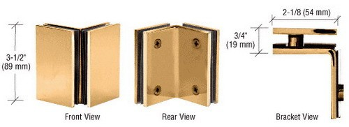 Gold Plated Geneva Series Glass-to-Glass Bracket - CRL GE090GP