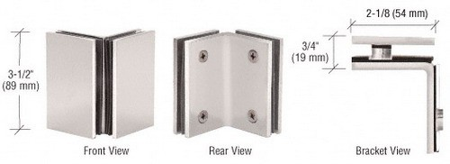 Satin Nickel Geneva Series Glass-to-Glass Bracket - CRL GE090SN