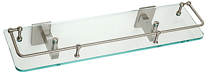 "CRL Brushed Nickel Geneva Series 18"" Glass Shelf CRL GEN812BN"