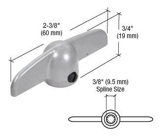 "CRL Aluminum T-Crank Casement Operator Handle 3/8"" Spline - 2-3/8"" Length CRL H3537"