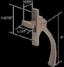 "CRL Bronze Casement Window Lock with 2-5/16"" Screw Holes for Lupton CRL H3565"