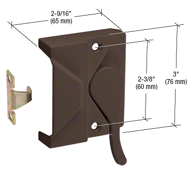 "CRL Bronze Left Hand  Casement Window Lock 2-3/8"" Screw Holes CRL H3572"