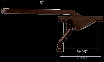 "CRL Bronze 6"" Right Hand Teardrop Style Casement Window Operator CRL H3584"