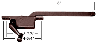 "CRL Bronze 6"" Left Hand Square Style Casement Window Operator CRL H3587"