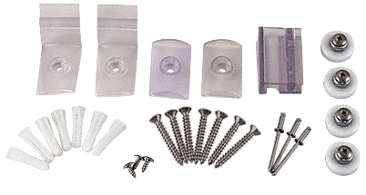 """CRL Brushed Nickel Frameless Sliding Shower Door Hardware Package for 1/4"""" Glass CRL HP14BN"""