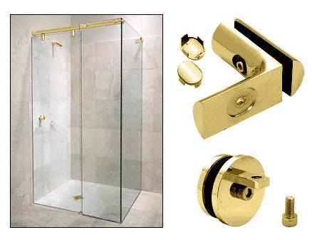 CRL Brass Hydroslide 90 Degree Wall-to-Glass Sliding Shower Door Accessory Kit CRL HYDA9BR