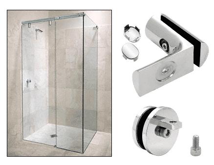CRL Chrome Hydroslide 90 Degree Wall-to-Glass Sliding Shower Door Accessory Kit CRL HYDA9CH
