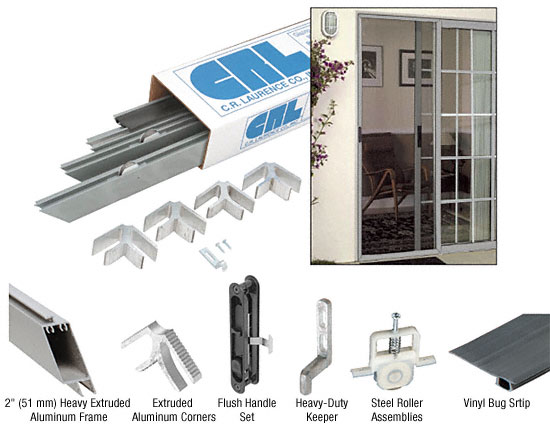 """White 49"""" X 81"""" Rio Extruded K.D. Sliding Screen Door Kit - Screen and Spline Not Included - CRL KDDLX48W"""