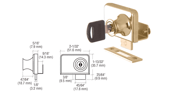 "CRL Gold Plated Clamp-On Lock for 3/8"" Double Glass Door - Randomly Keyed CRL LK348"