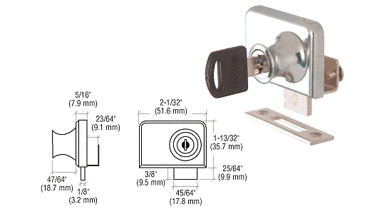 "CRL Chrome Clamp-On Lock for 1/4"" Double Glass Door - Randomly Alike CRL LK46"