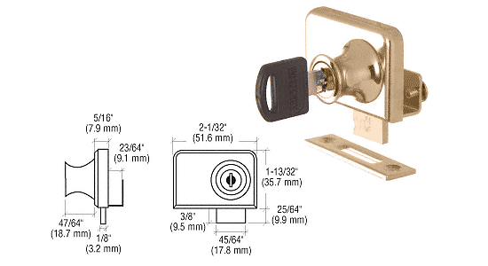 "CRL Gold Plated Clamp-On Lock for 1/4"" Double Glass Door - Randomly Alike CRL LK48"