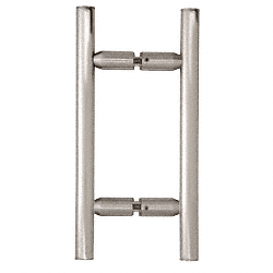 "CRL Brushed Satin Chrome 6"" Ladder Style Back-to-Back Pull Handle CRL LP6X6BSC"