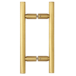 "CRL Satin Brass 6"" Ladder Style Back-to-Back Pull Handle CRL LP6X6SB"