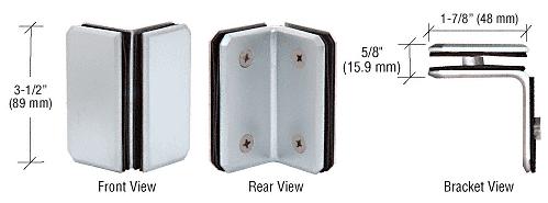 CRL Satin Chrome Monaco Series Glass-to-Glass Bracket CRL M0090SC