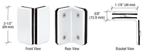 CRL White Monaco Series Glass-to-Glass Bracket CRL M0090W
