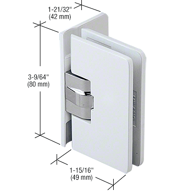 CRL White with Chrome Center Block Milano 044 Series Wall Mount Full Offset Back Plate Hinge CRL M1L044W
