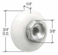 """CRL 3/4"""" Oval Edge Nylon Ball Bearing Shower Door Roller with Threaded Hex Hub - Bulk 100/Pk CRL M6000B"""