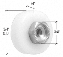 """CRL 3/4"""" Nylon Ball Bearing Shower Door Flat Edge Roller with Threaded Hex Hub CRL M6001"""