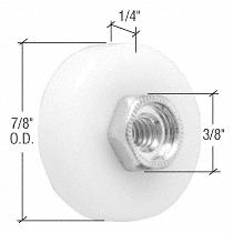 """CRL 7/8"""" Nylon Ball Bearing Shower Door Flat Edge Roller with Threaded Hex Hub CRL M6003"""