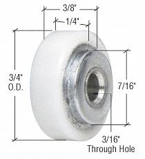 """CRL 3/4"""" Nylon Ball Bearing Shower Door Flat Edge Roller CRL M6005"""