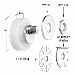 """CRL 7/8"""" Nylon Ball Bearing Flat Edge Roller for American Shower Doors CRL M6006"""
