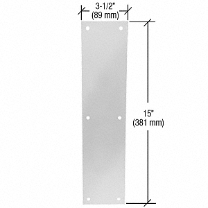 """CRL Clear Anodized Push Plate 3-1/2"""" x 15"""" CRL M60328"""