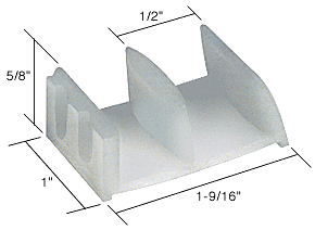 "CRL 1-9/16"" Wide Tub Enclosure Sliding Door Bottom Guide - Bulk 20 Pack CRL M6058B"