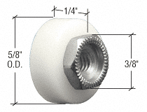 "CRL 5/8"" Nylon Ball Bearing Flat Edge Door Roller with Threaded Hex Hub Bulk - 100/Pk CRL M6065B"