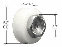 """CRL 5/8"""" Nylon Ball Bearing Flat Edge Shower Door Roller with Threaded Hex Hub CRL M6065"""