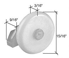 """CRL 15/16"""" Nylon Oval Edge Roller with Nylon Bracket CRL M6070"""