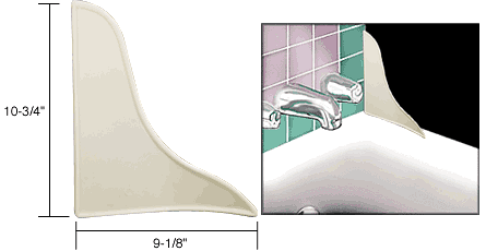 CRL Porcelain White Curved Profile Tub Splash Guard CRL M6086