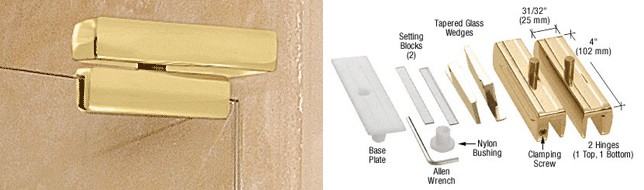 CRL Brass Madrid Series Hinge Kit for 3//8 Glass