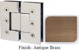Antique Brass Masis 783 Series Heavy Duty with Square Edges 180 Degree Glass-To-Glass Hinge - MA783A_ABR