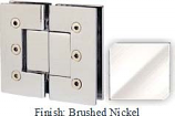 Brushed Nickel Masis 783 Series Heavy Duty with Square Edges 180 Degree Glass-To-Glass Hinge - MA783A_BN