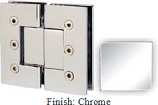 Chrome Masis 783 Series Heavy Duty with Square Edges 180 Degree Glass-To-Glass Hinge - MA783A_CR