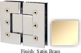 Satin Brass Masis 783 Series Heavy Duty with Square Edges 180 Degree Glass-To-Glass Hinge - MA783A_SBR