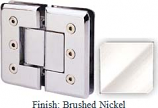 Brushed Nickel Masis 783R Series Heavy Duty Beveled with Round Edges 180 Degree Glass-to-Glass Hinge - MA783AR_BN