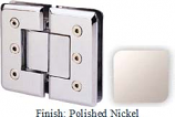 Polished Nickel Masis 783R Series Heavy Duty Beveled with Round Edges 180 Degree Glass-to-Glass Hinge - MA783AR_PN